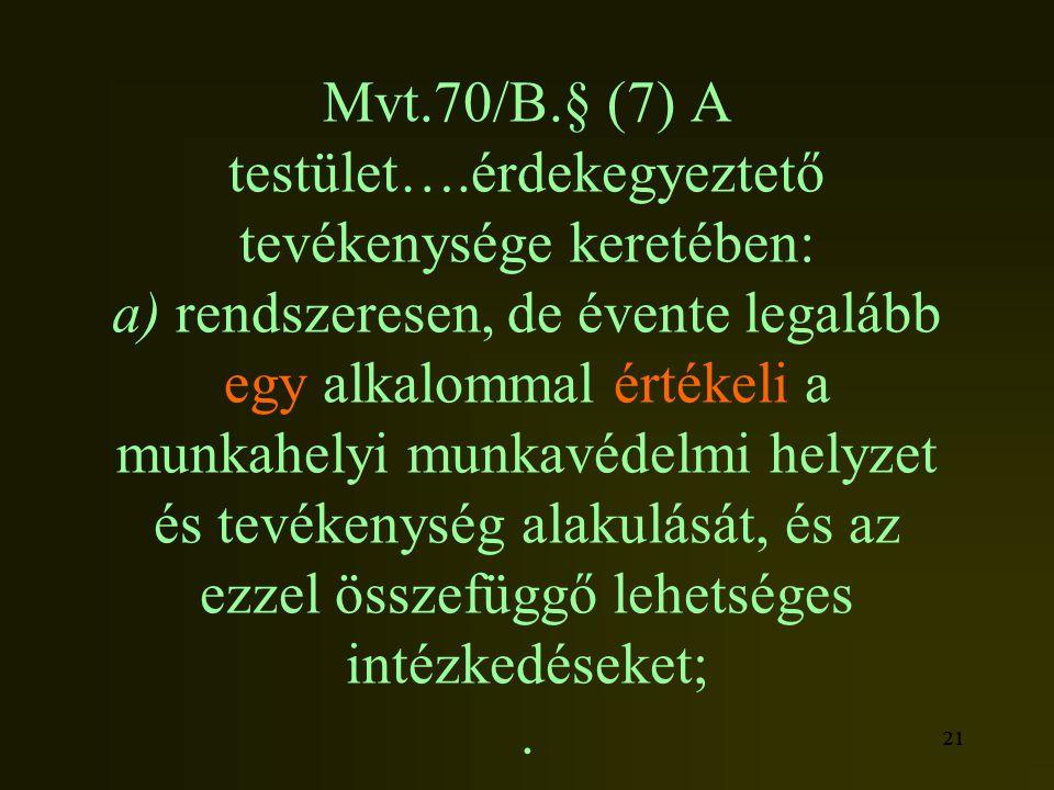 Mvt.70/B.§ (7) A testület….érdekegyeztető tevékenysége keretében: a) rendszeresen, de évente legalább egy alkalommal értékeli a munkahelyi munkavédelmi helyzet és tevékenység alakulását, és az ezzel összefüggő lehetséges intézkedéseket; .