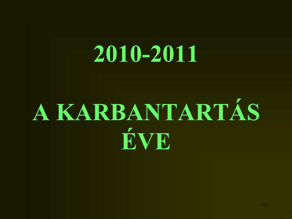 2010-2011 A KARBANTARTÁS ÉVE
