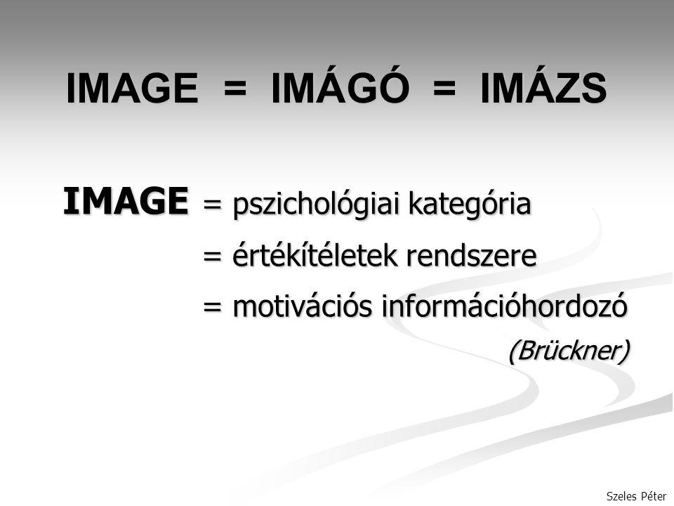 IMAGE = IMÁGÓ = IMÁZS IMAGE = pszichológiai kategória