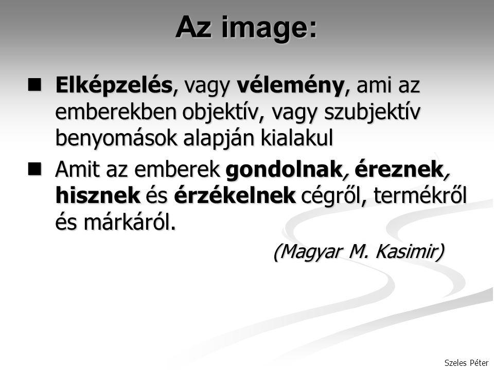 Az image: Elképzelés, vagy vélemény, ami az emberekben objektív, vagy szubjektív benyomások alapján kialakul.