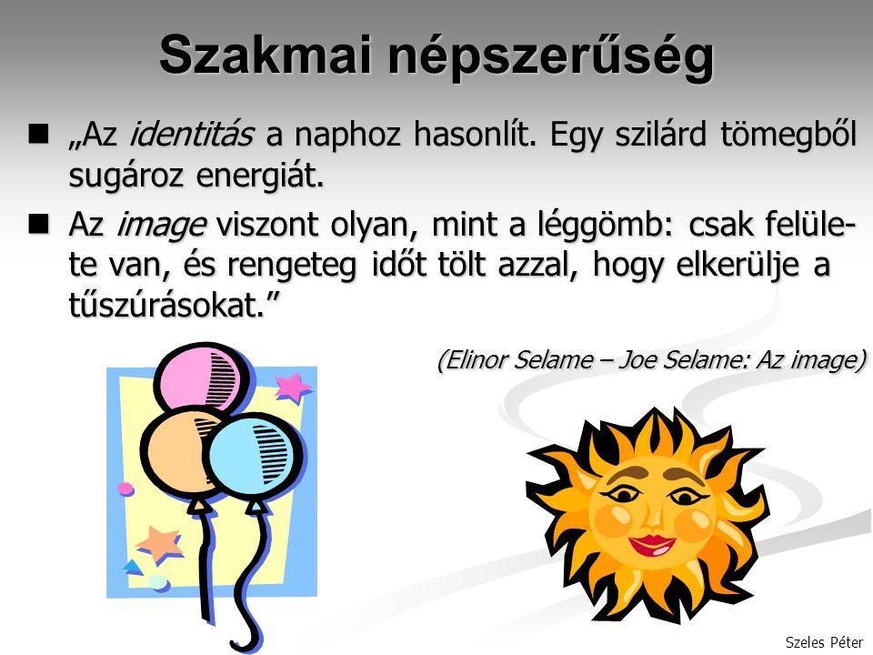 """Szakmai népszerűség """"Az identitás a naphoz hasonlít. Egy szilárd tömegből sugároz energiát."""