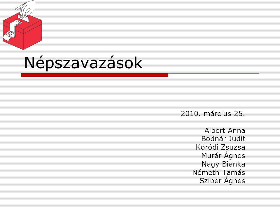 Népszavazások 2010. március 25. Albert Anna Bodnár Judit Kóródi Zsuzsa