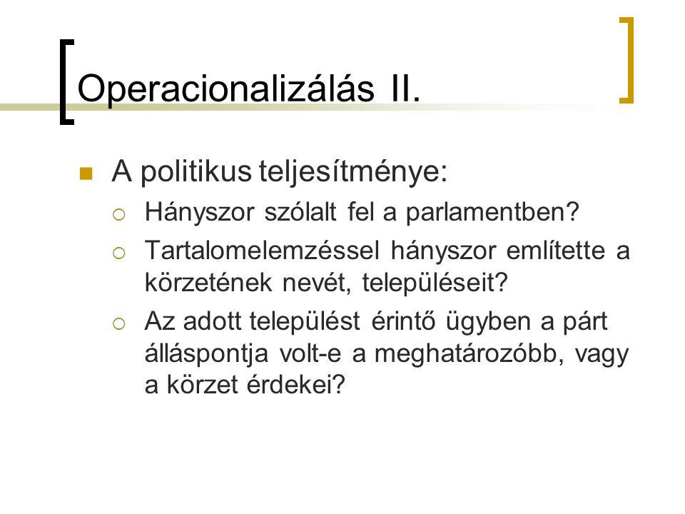 Operacionalizálás II. A politikus teljesítménye: