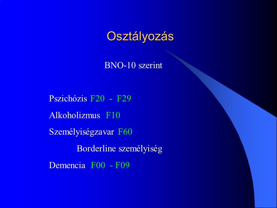 Osztályozás BNO-10 szerint Pszichózis F20 - F29 Alkoholizmus F10