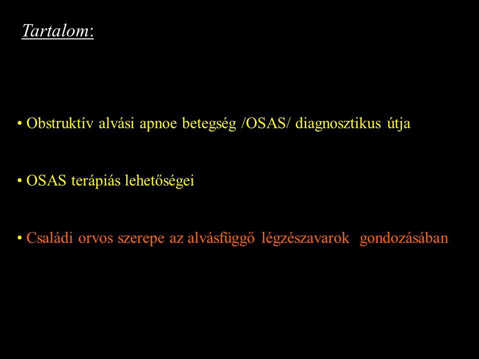 Tartalom: Obstruktív alvási apnoe betegség /OSAS/ diagnosztikus útja