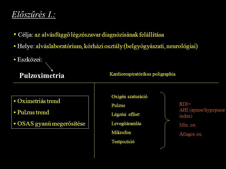 Előszűrés I.: Célja: az alvásfüggő légzészavar diagnózisának felállítása. Helye: alváslaboratórium, kórházi osztály (belgyógyászati, neurológiai)