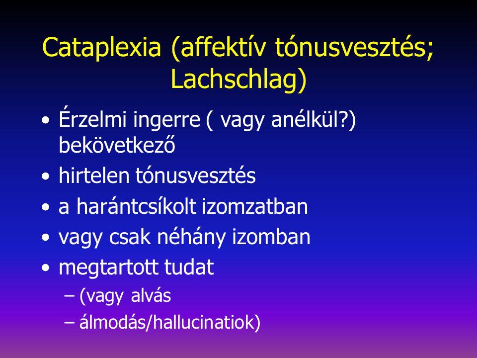 Cataplexia (affektív tónusvesztés; Lachschlag)