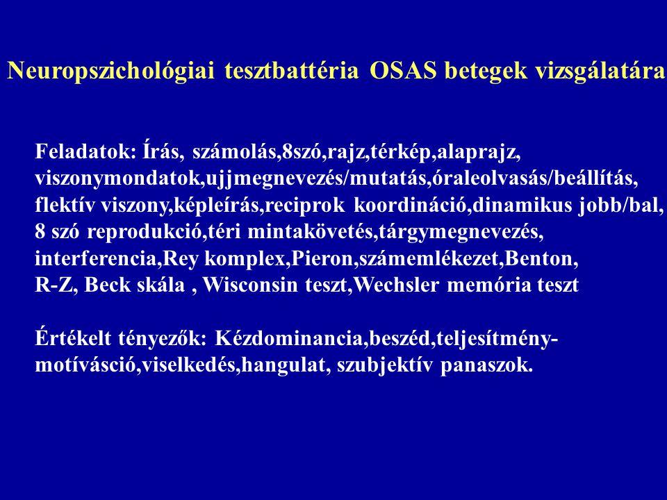 Neuropszichológiai tesztbattéria OSAS betegek vizsgálatára