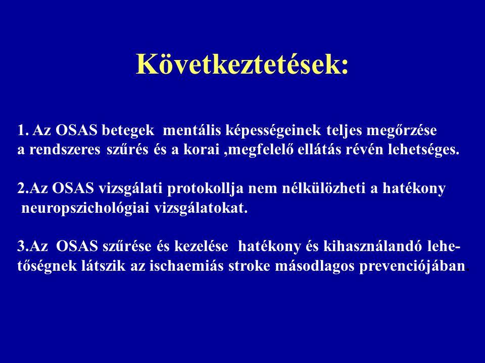 Következtetések: 1. Az OSAS betegek mentális képességeinek teljes megőrzése. a rendszeres szűrés és a korai ,megfelelő ellátás révén lehetséges.