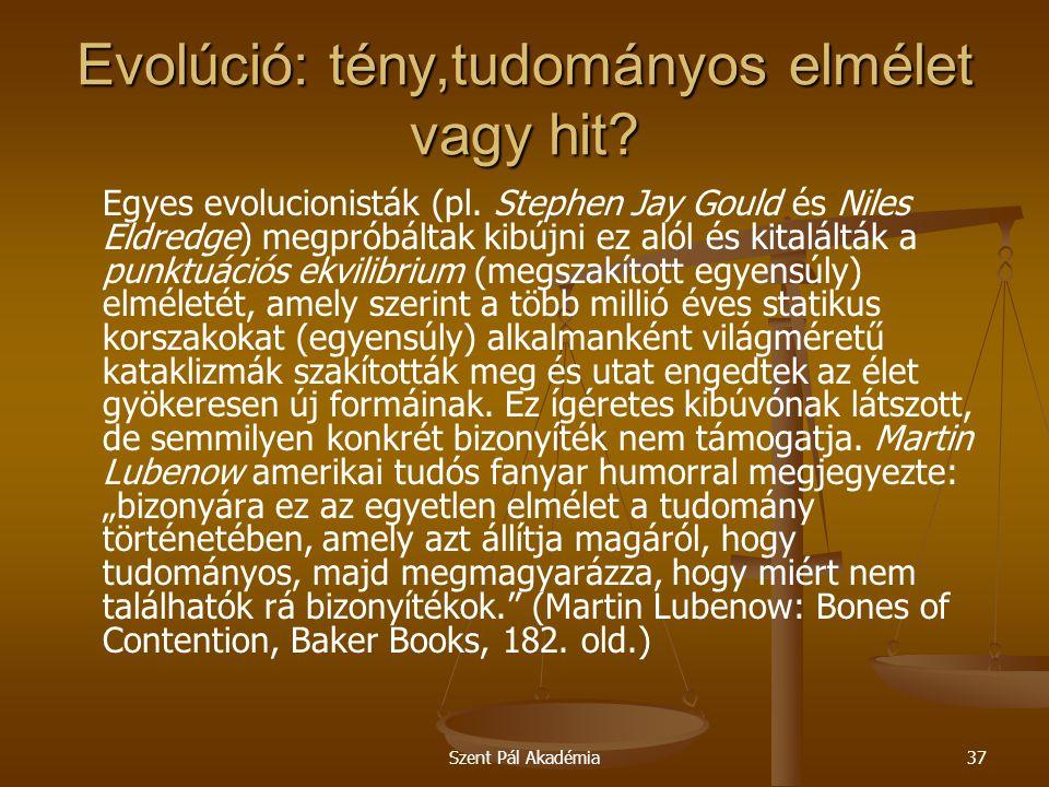 Evolúció: tény,tudományos elmélet vagy hit
