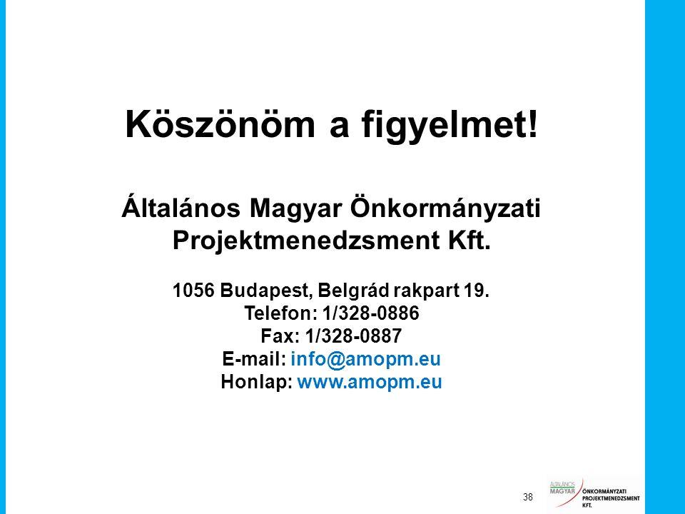 Köszönöm a figyelmet! Általános Magyar Önkormányzati Projektmenedzsment Kft. 1056 Budapest, Belgrád rakpart 19.