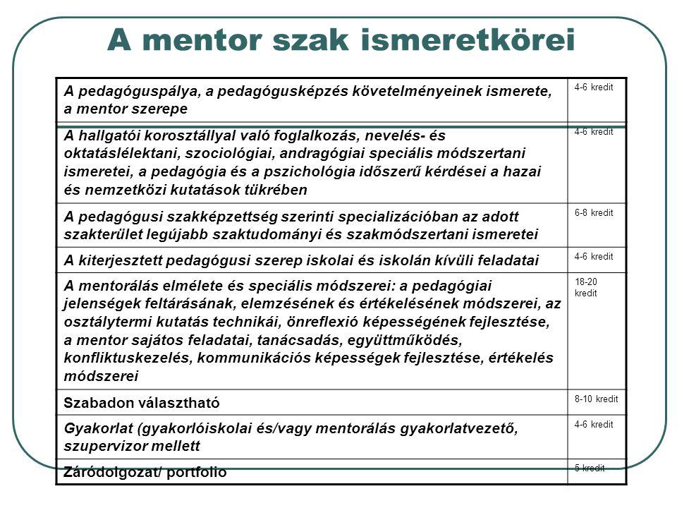 A mentor szak ismeretkörei