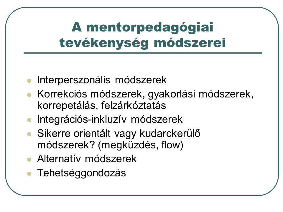 A mentorpedagógiai tevékenység módszerei