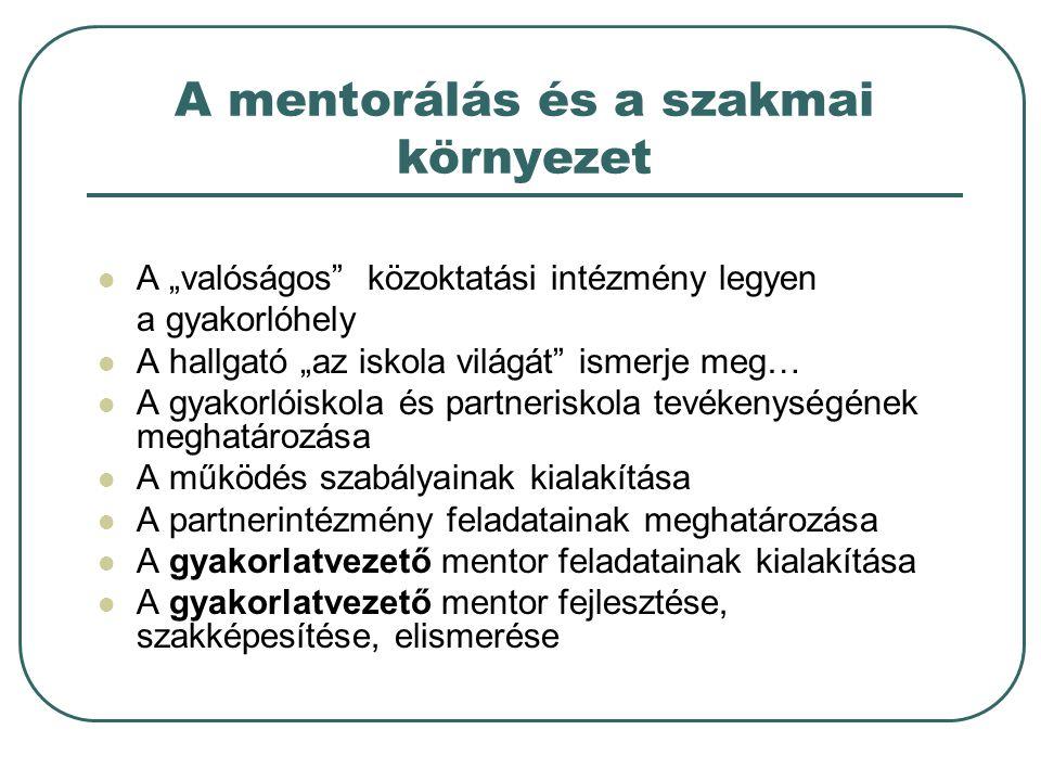 A mentorálás és a szakmai környezet