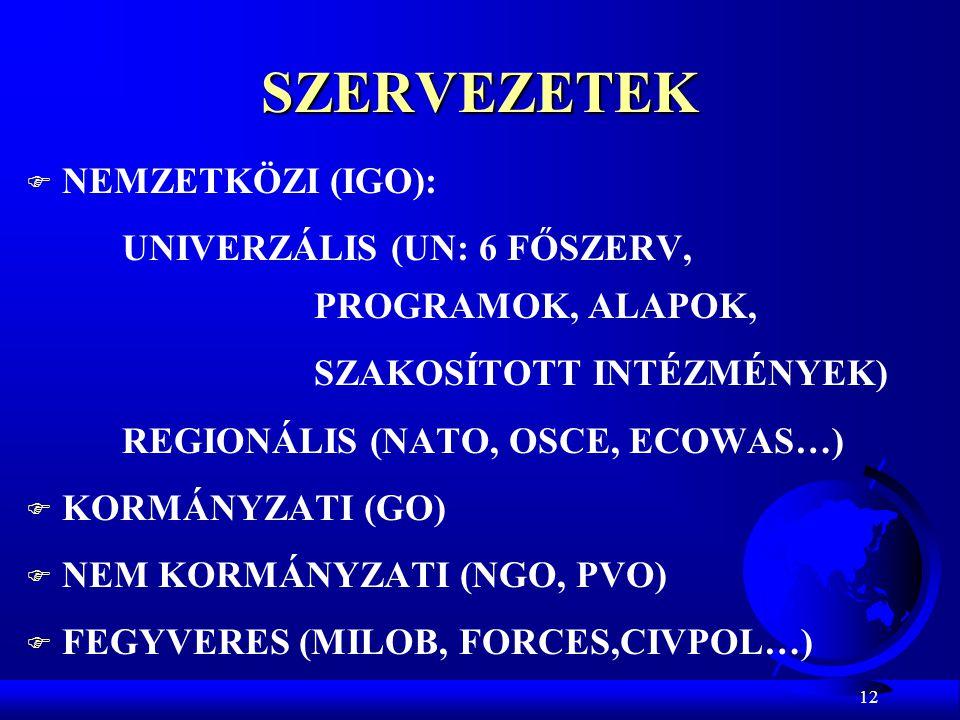 SZERVEZETEK NEMZETKÖZI (IGO):