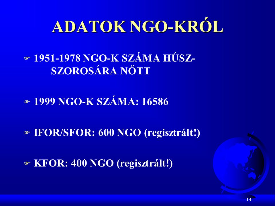ADATOK NGO-KRÓL 1951-1978 NGO-K SZÁMA HÚSZ- SZOROSÁRA NŐTT