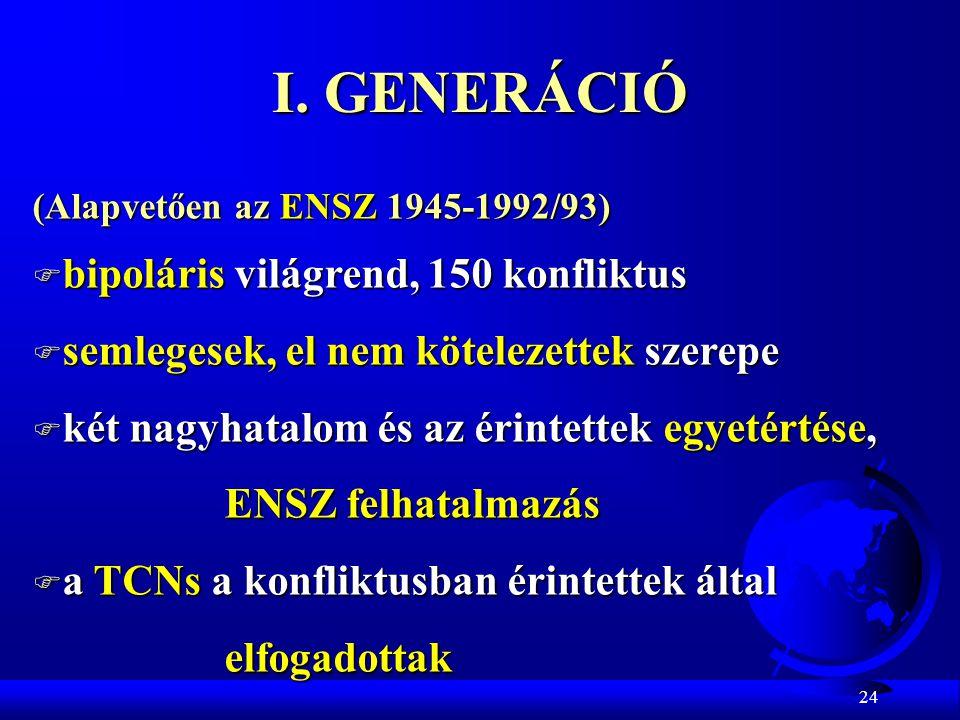 I. GENERÁCIÓ bipoláris világrend, 150 konfliktus