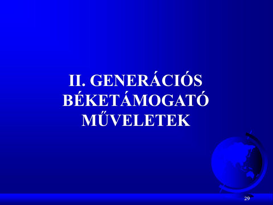 II. GENERÁCIÓS BÉKETÁMOGATÓ MŰVELETEK