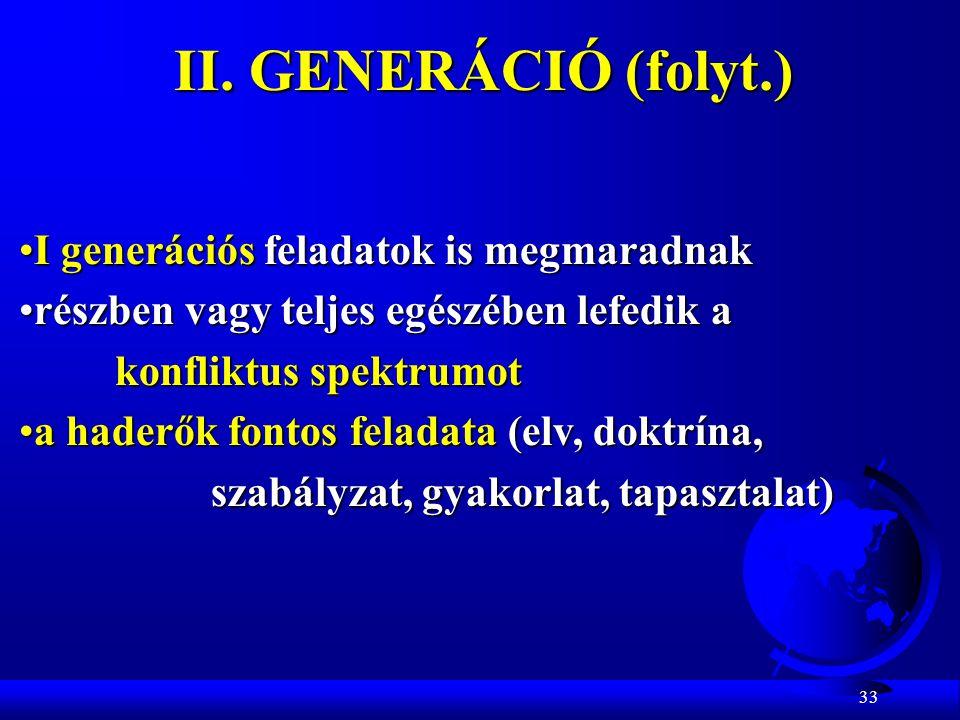 II. GENERÁCIÓ (folyt.) I generációs feladatok is megmaradnak
