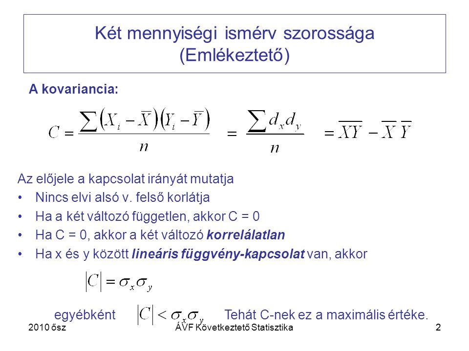 Két mennyiségi ismérv szorossága (Emlékeztető)