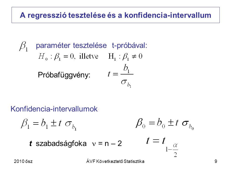 A regresszió tesztelése és a konfidencia-intervallum