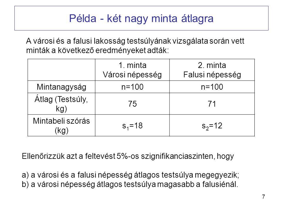 Példa - két nagy minta átlagra