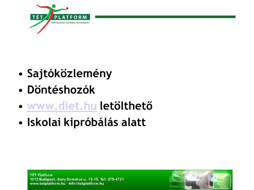 Sajtóközlemény Döntéshozók www.diet.hu letölthető Iskolai kipróbálás alatt