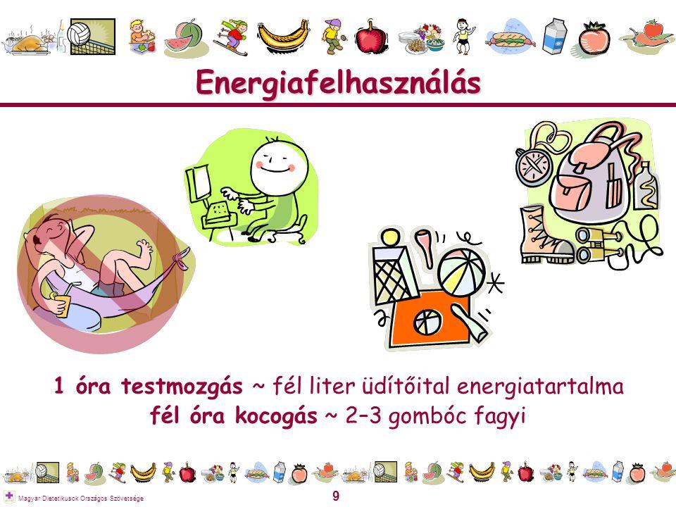 Energiafelhasználás 1 óra testmozgás ~ fél liter üdítőital energiatartalma.