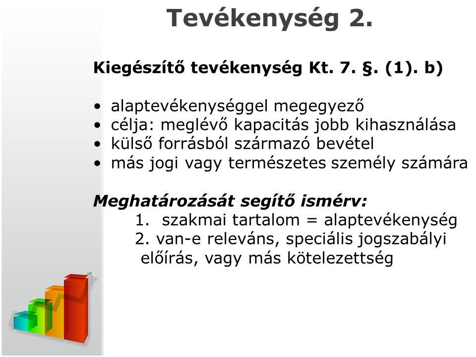 t Tevékenység 2. Kiegészítő tevékenység Kt. 7. §. (1). b)