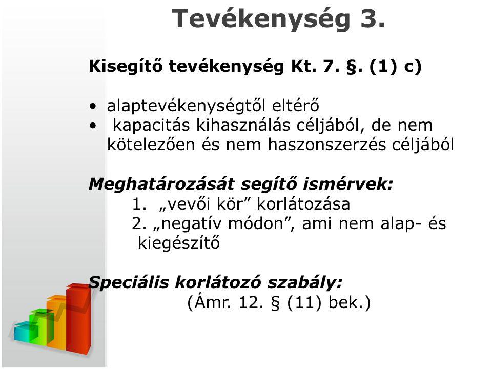 t Tevékenység 3. Kisegítő tevékenység Kt. 7. §. (1) c)