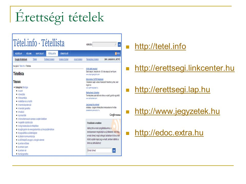 Érettségi tételek http://tetel.info http://erettsegi.linkcenter.hu