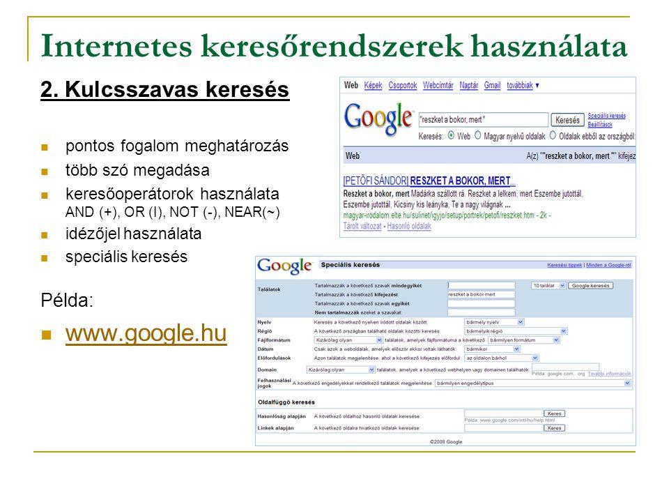 Internetes keresőrendszerek használata