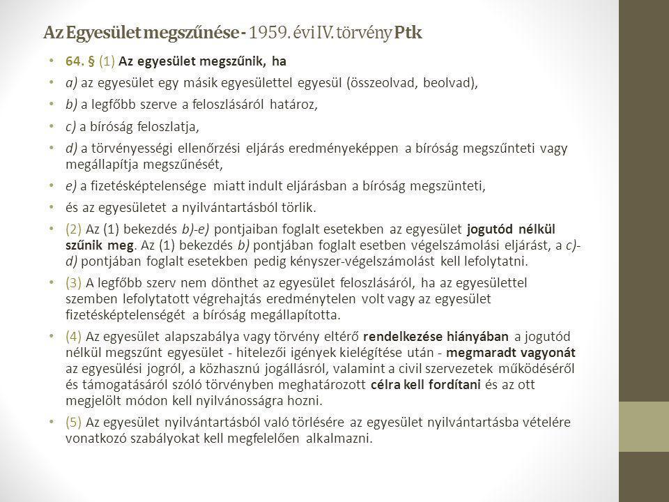 Az Egyesület megszűnése - 1959. évi IV. törvény Ptk