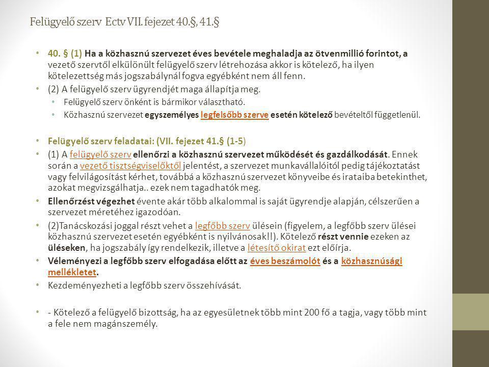 Felügyelő szerv Ectv VII. fejezet 40.§, 41.§