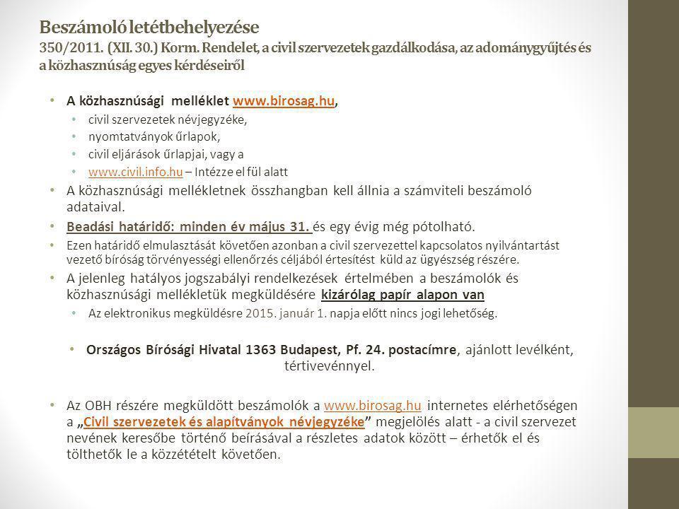 Beszámoló letétbehelyezése 350/2011. (XII. 30. ) Korm