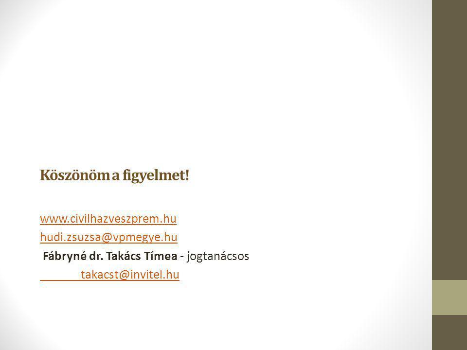 Köszönöm a figyelmet! www.civilhazveszprem.hu hudi.zsuzsa@vpmegye.hu