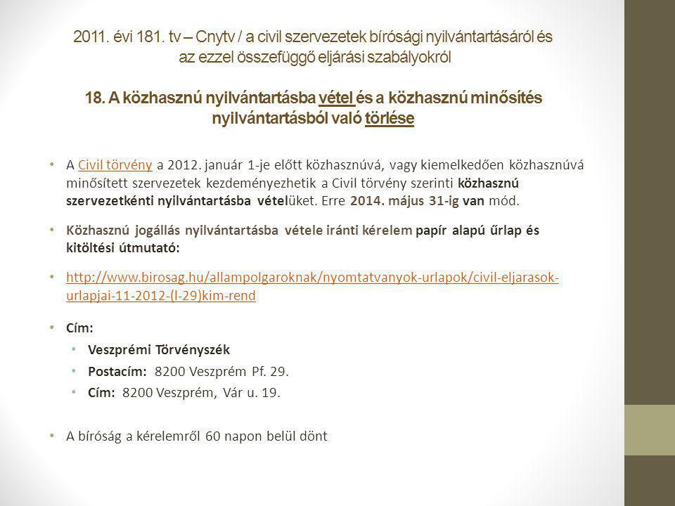 2011. évi 181. tv – Cnytv / a civil szervezetek bírósági nyilvántartásáról és az ezzel összefüggő eljárási szabályokról 18. A közhasznú nyilvántartásba vétel és a közhasznú minősítés nyilvántartásból való törlése