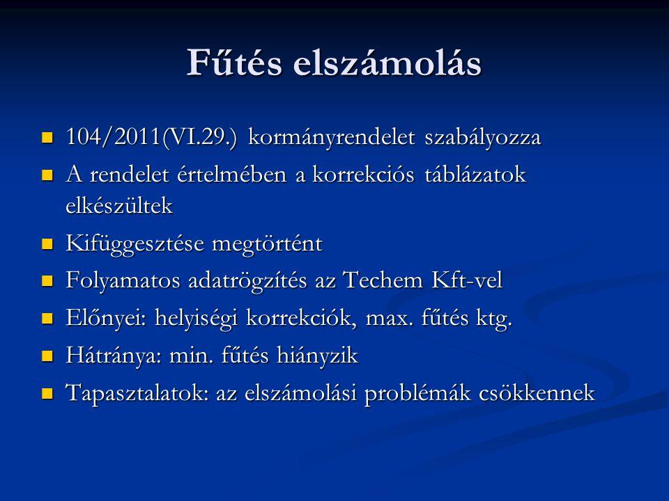Fűtés elszámolás 104/2011(VI.29.) kormányrendelet szabályozza