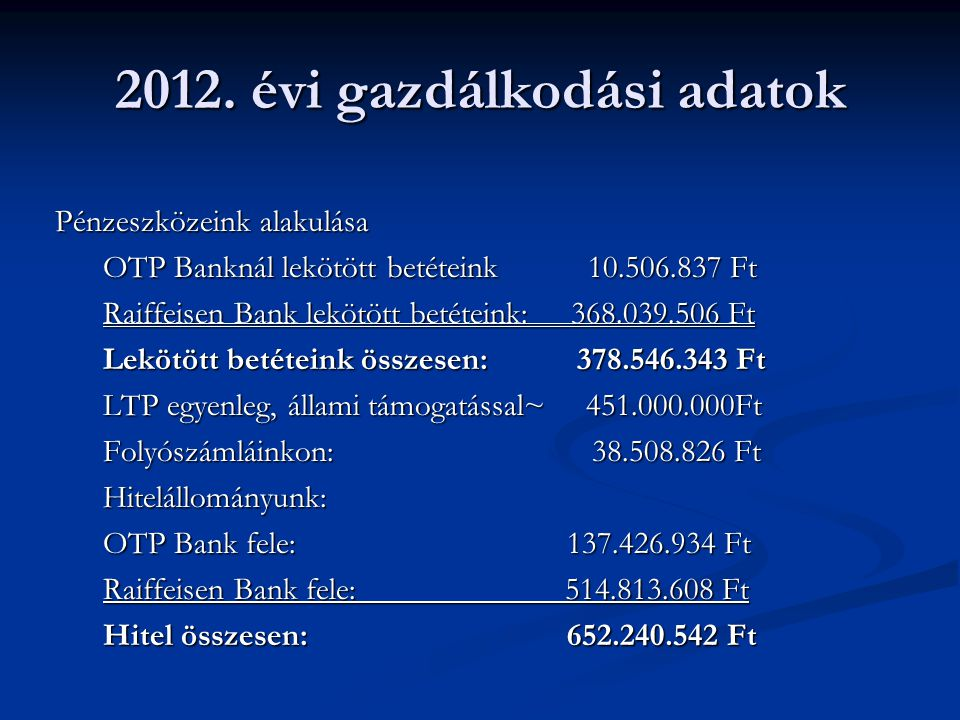 2012. évi gazdálkodási adatok