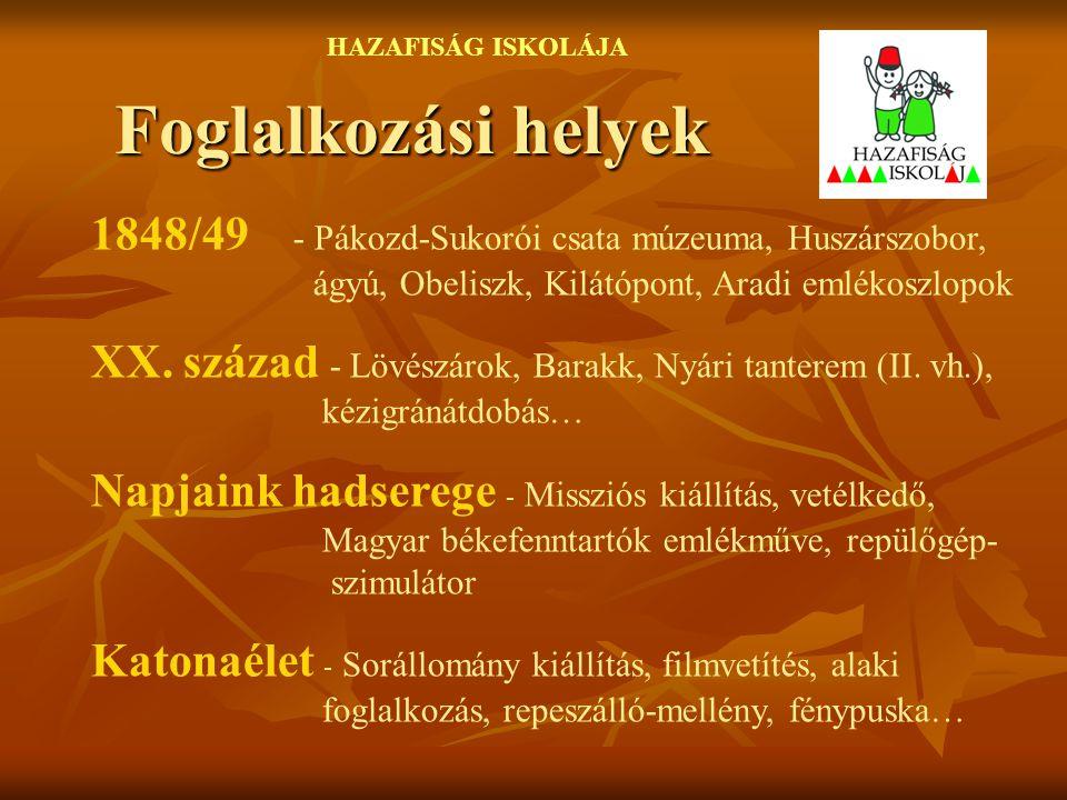 HAZAFISÁG ISKOLÁJA Foglalkozási helyek. 1848/49 - Pákozd-Sukorói csata múzeuma, Huszárszobor, ágyú, Obeliszk, Kilátópont, Aradi emlékoszlopok.