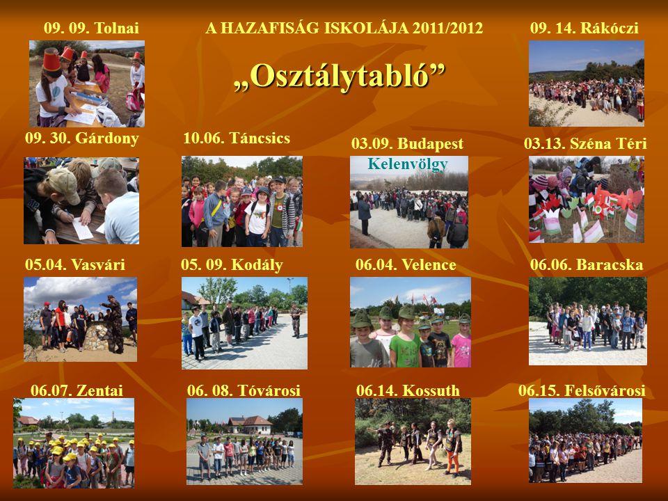 """""""Osztálytabló 09. 09. Tolnai A HAZAFISÁG ISKOLÁJA 2011/2012"""