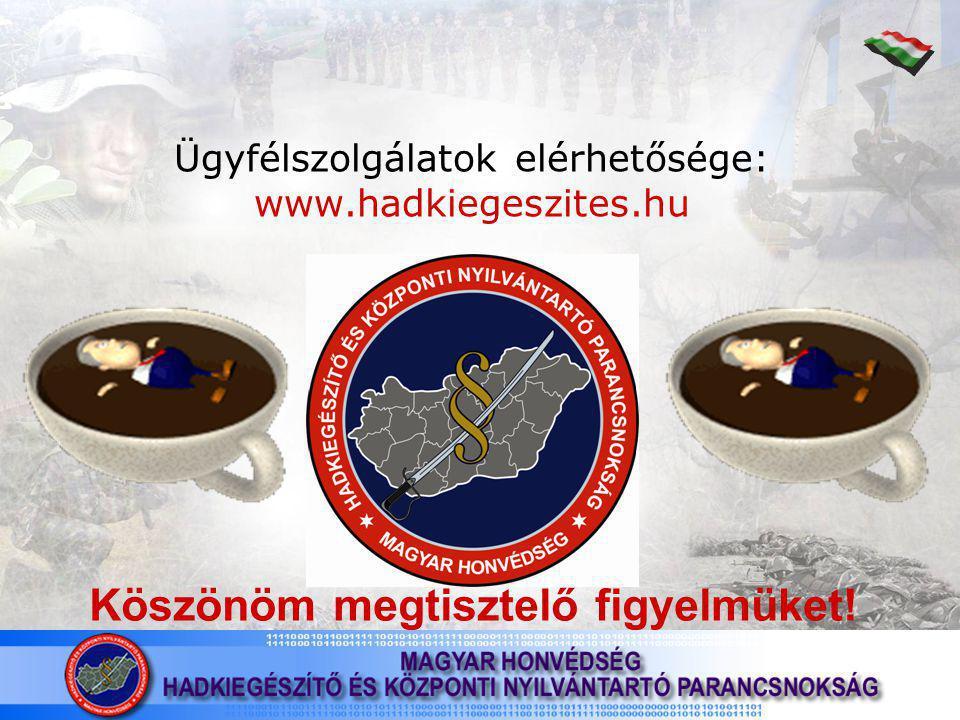 Ügyfélszolgálatok elérhetősége: www.hadkiegeszites.hu