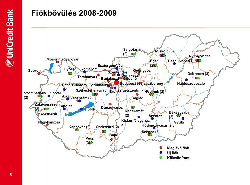 Fiókbővülés 2008-2009 Salgótarján (2) Miskolc (3) Nyíregyháza (3)