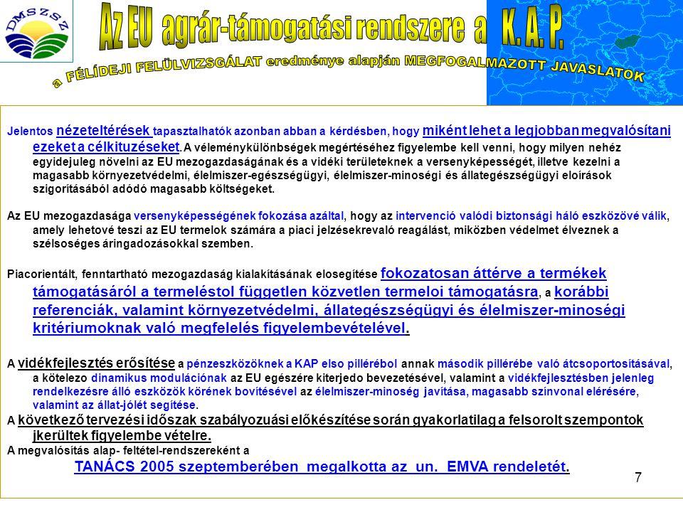 Az EU agrár-támogatási rendszere a K. A. P.