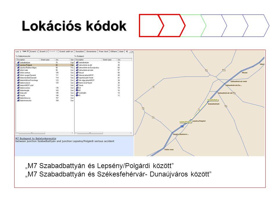 """Lokációs kódok """"M7 Szabadbattyán és Lepsény/Polgárdi között """"M7 Szabadbattyán és Székesfehérvár- Dunaújváros között"""