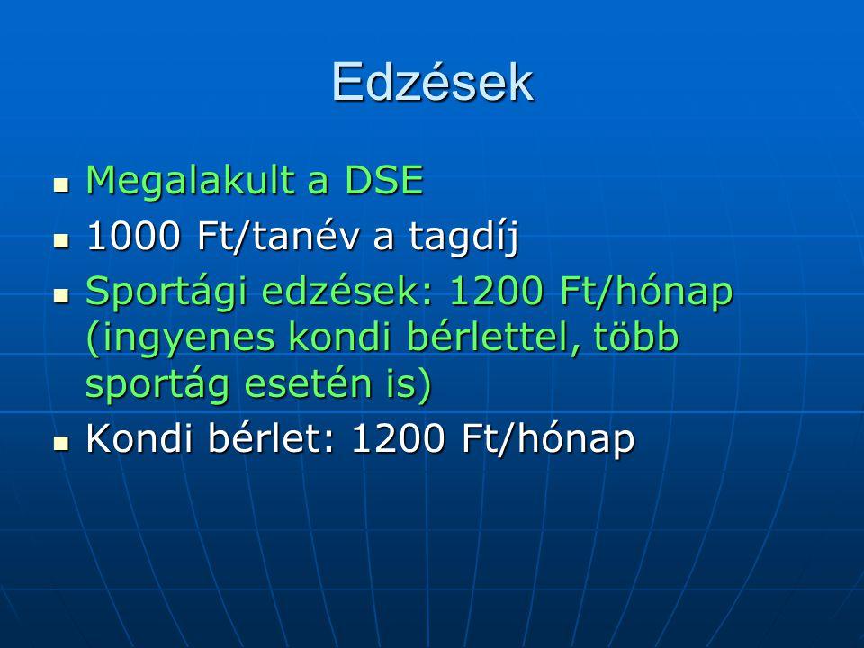 Edzések Megalakult a DSE 1000 Ft/tanév a tagdíj