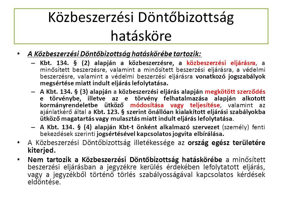 Közbeszerzési Döntőbizottság hatásköre