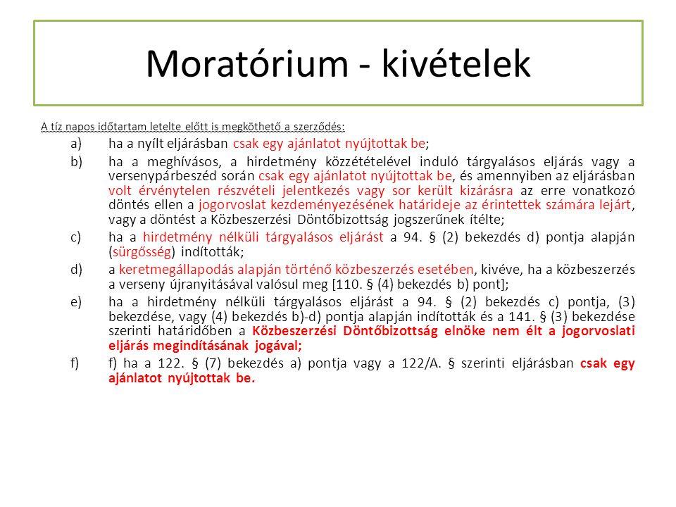 Moratórium - kivételek