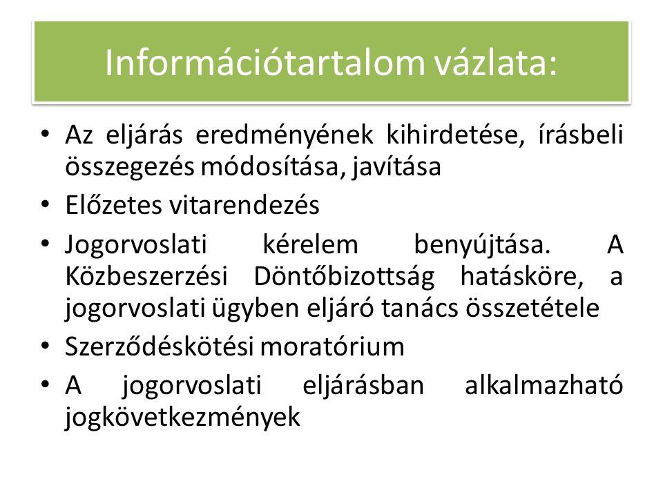 Információtartalom vázlata: