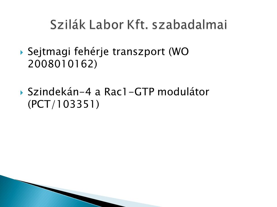 Szilák Labor Kft. szabadalmai